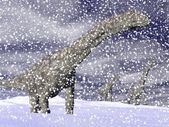 Argentinosaurus dinosaur in winter - 3D render — 图库照片