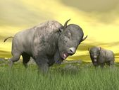 Bisons in nature - 3D render — Stock Photo