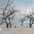 Dead trees in the desert - 3D render — Photo