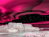 Northern lights (aurora borealis) - 3D render — 图库照片