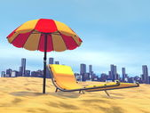 Summer relaxation, city behind- 3D render — Stock Photo