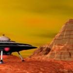 UFO landed - 3D render — Foto de Stock   #40546037