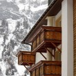Wooden balconies in winter — Stock Photo