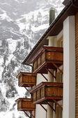 Wooden balconies in winter — Stock Photo