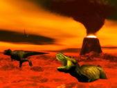 Tyrannosaurus dinosaur exctinction - 3D render — Stock Photo
