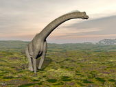 Brachiosaurus dinosaur walking - 3D render — Stock Photo
