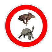 Turtle and hare speed limit — Stock Photo