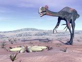 Female gigantoraptor going to its nest - 3D render — ストック写真