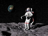 Man on the moon - 3D render — Stock Photo