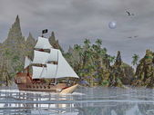 Pirate ship by night - 3D render — Stock Photo