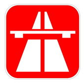 Red highway icon — Stock Photo