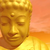 Golden buddha - 3D render — Foto de Stock