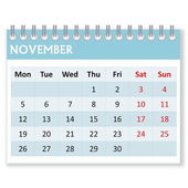Calendar sheet for november — Stock Photo