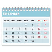 Calendar sheet for september — Stock Photo