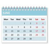 Calendar sheet for june — Stock Photo
