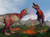 Tyrannosaurus rex dinosaurus boj - 3d vykreslení — Stock fotografie