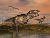 Procesamiento de 3d de dinosaurios tiranosaurio rex — Foto de Stock