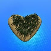 Heart island - 3D render — Stock Photo