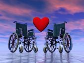 Handicapped persons love - 3D render — Stock Photo