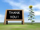 Sunflower blackboard saying thank you - 3D render — Stock Photo