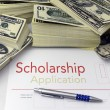 Scholarship application form and money - Foto de Stock