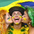 Group of happy brazilian soccer fans — Foto Stock