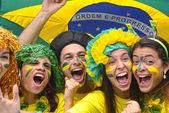 группа счастливых бразильских фанатов футбола — Стоковое фото
