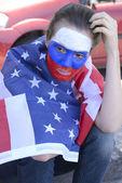 USA american woman soccer fans — Stock Photo