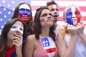 Group of US soccer fans concerned about team performance. — Stock fotografie