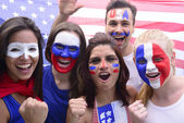 USA soccer fans commemorating victory — Stock Photo