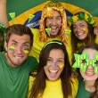 Brazilian sport soccer fans amazed — Stock Photo
