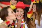 German couple of soccer sport fans — Stock Photo
