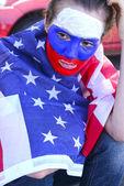 USA american devastated woman soccer fan — Stock Photo