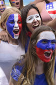 Group of happy USA soccer fans — Stockfoto