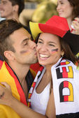 German couple of soccer sport fans — Photo