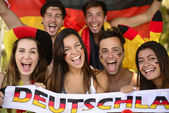 Group of enthusiastic German sport soccer fans — Photo