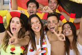 Group of enthusiastic German sport soccer fans — Foto de Stock
