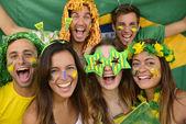Brazilian sport soccer fans — Stock Photo