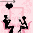 Silhouette of the couple in the cafe — Stock Vector
