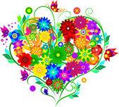 Corazón con flores — Vector de stock