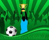Игрок футбола с Кубок — Cтоковый вектор