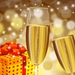 Christmas champagne stemware — Stock Vector #19709443