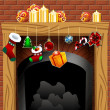 Stock Vector: Fireplace on Christmas