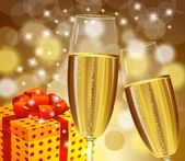Christmas champagne stemware — Stock Vector