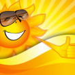 Sunny background with a smiling sun — Stock Vector #21700305