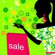 Royalty-Free Stock Imagen vectorial: Spring girl on sale