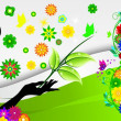 Royalty-Free Stock Imagem Vetorial: Girl on spring background with flowers