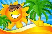 Sun on the beach with palm trees — Stock Vector