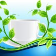 White cup of tea with mint — Stock Vector