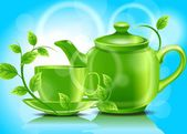 Green teapot with cup and mint — Stock Vector